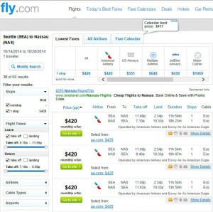 Seattle-Nassau: Fly.com Search Results