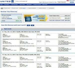 Seattle-San Juan: United Booking Page