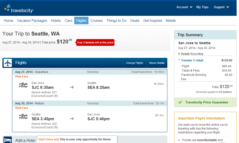 Travelocity Booking Page: San Jose to Seattle