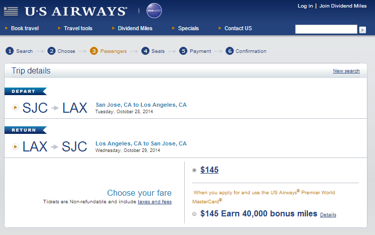 US Airways Booking Page: San Jose to Los Angeles
