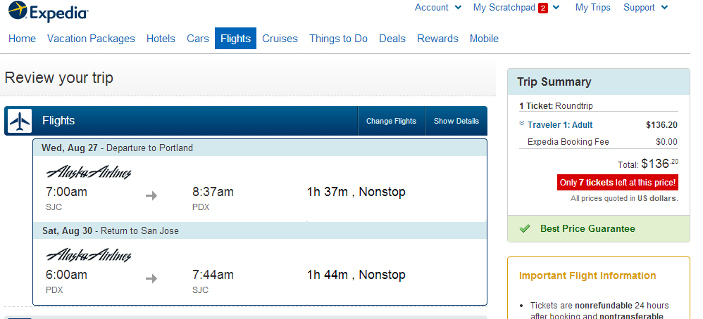 Expedia Booking Page: San Jose to Portland