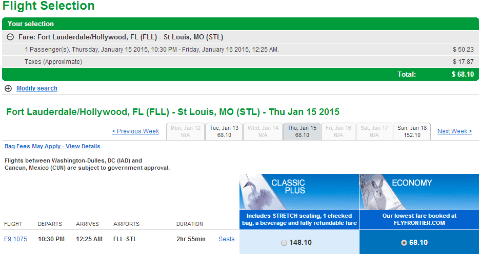 Frontier Results Page: Fort Lauderdale to St Louis