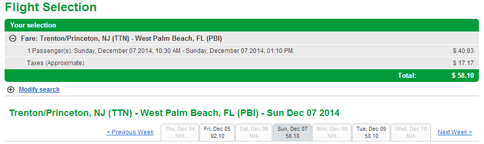 Frontier Results Page: Trenton, N.J. to West Palm Beach