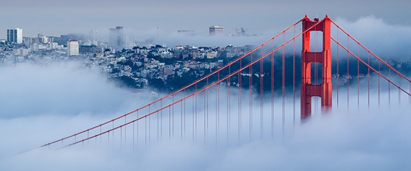 San Francisco Golden Gate at Dawn Surrounded by Fog (Shutterstock.com)