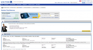 Philly to Belize, City: United Airlines Booking Page
