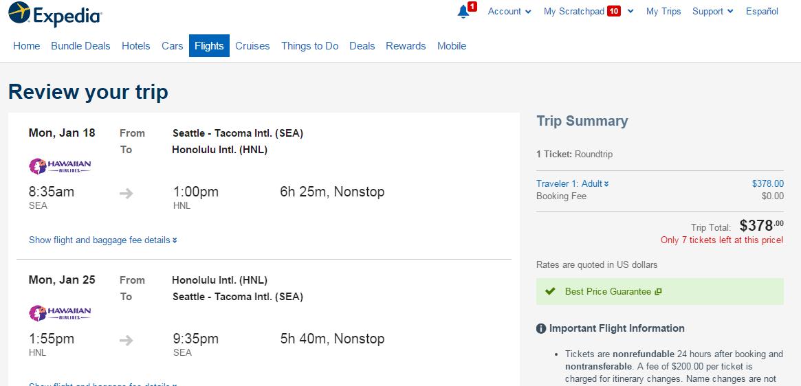 378 398 Seattle To 2 Hawaiian Islands Nonstop R T