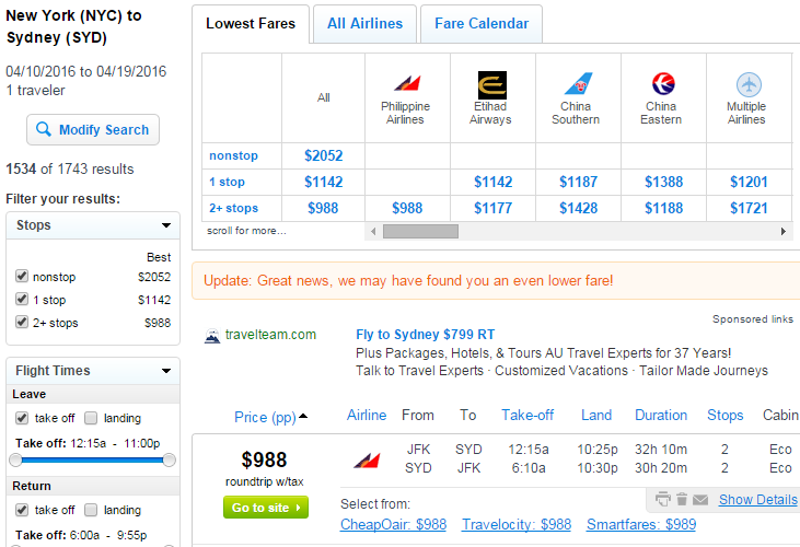 Under 1000 Nyc To Sydney Australia Into May R T
