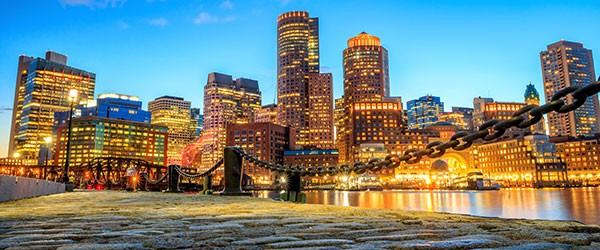 Boston Harbor and Financial District at Twilight Featured (Shutterstock.com)