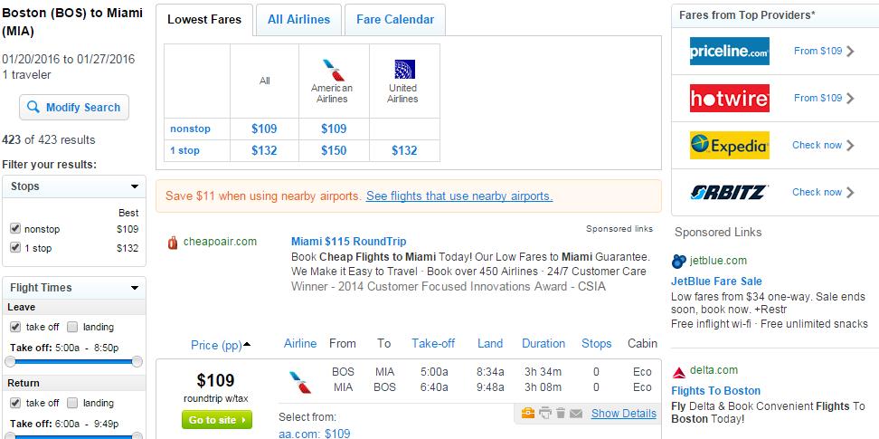 Flight deals boston to miami