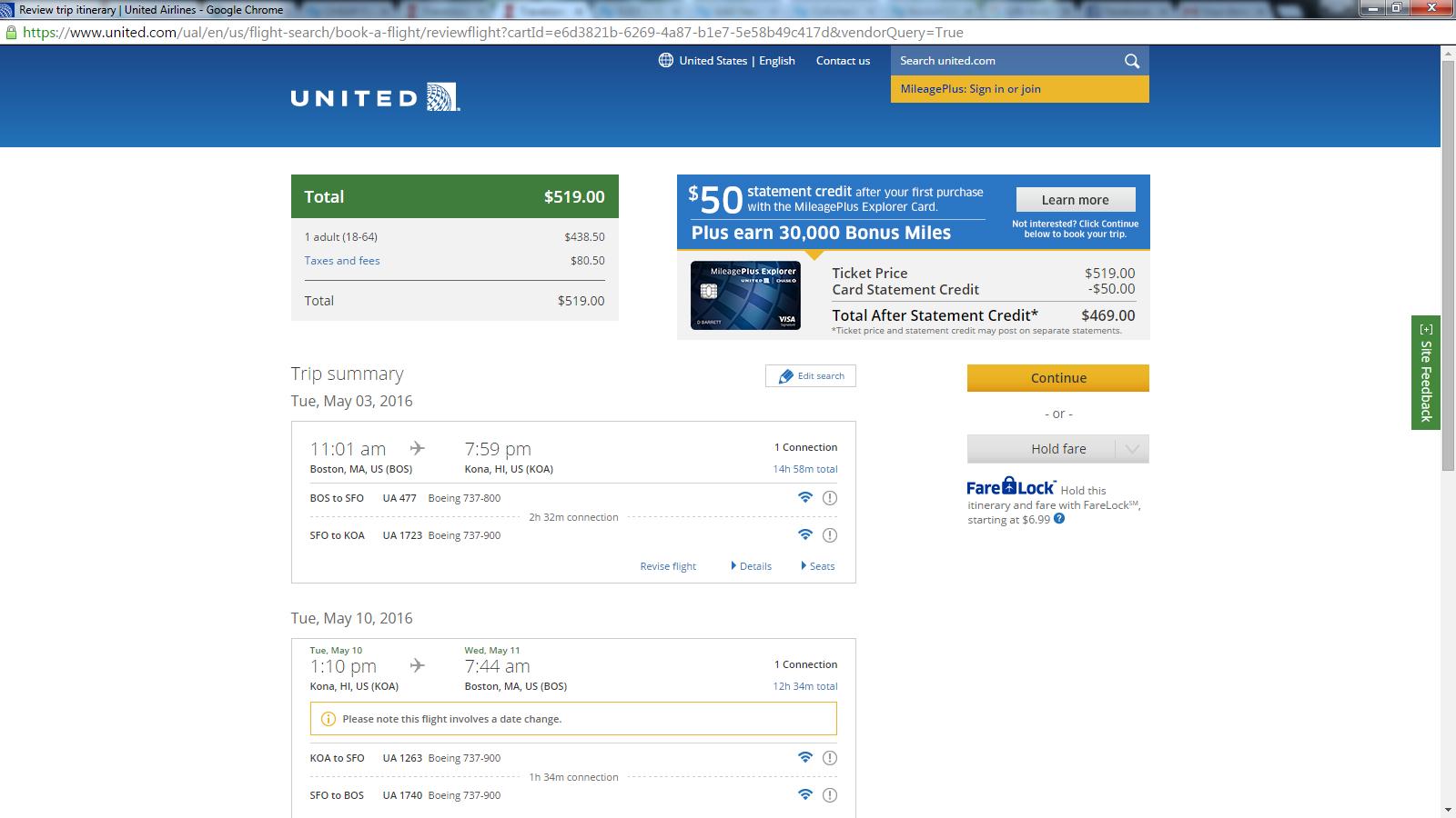 United Check Bag Fee 519 593 Boston To 3 Hawaiian Islands R T Fly Com