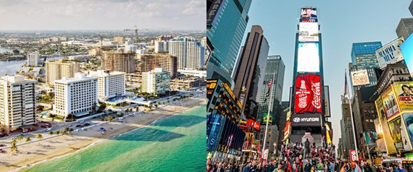 Fort Lauderdale & New York City's Times Square