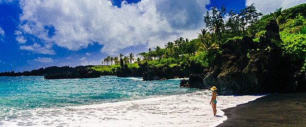 Black Sand Beach on the Road to Hana, Maui Featured (Shutterstock.com)