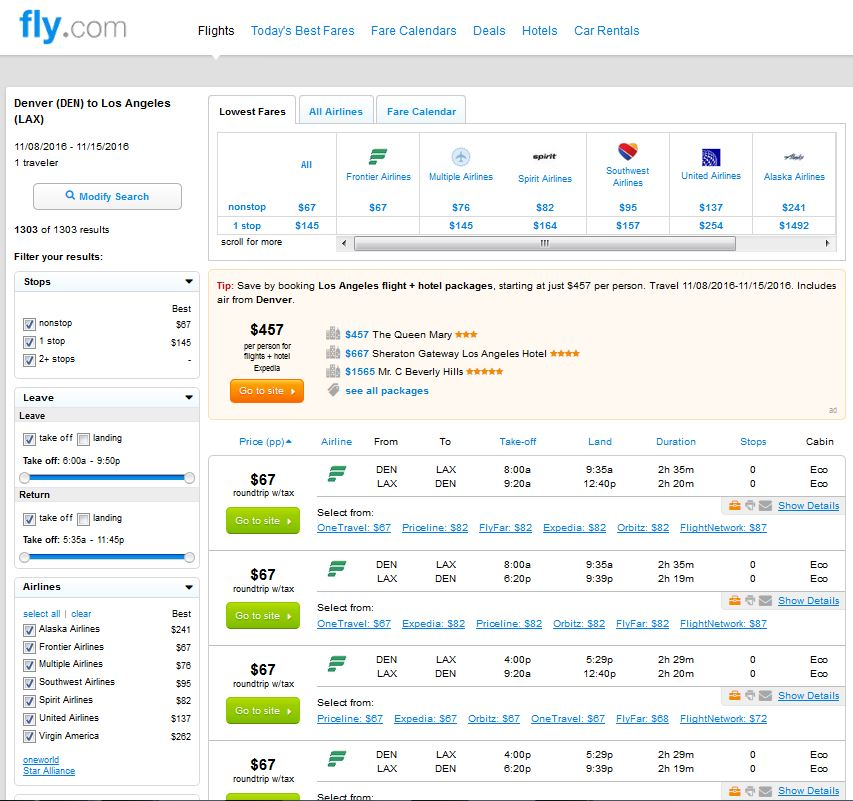 $67 -- Los Angeles To/from Denver Nonstop (R/T)